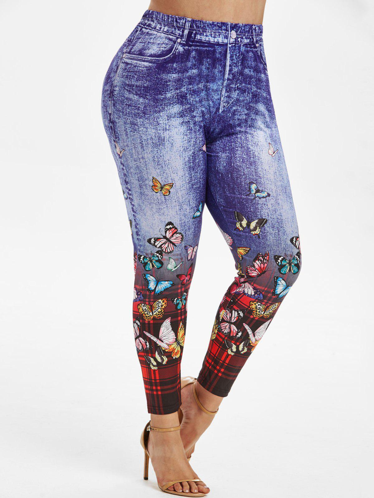Plaid Butterfly 3D Print High Waisted Plus Size Jeggings - BLUE 5X