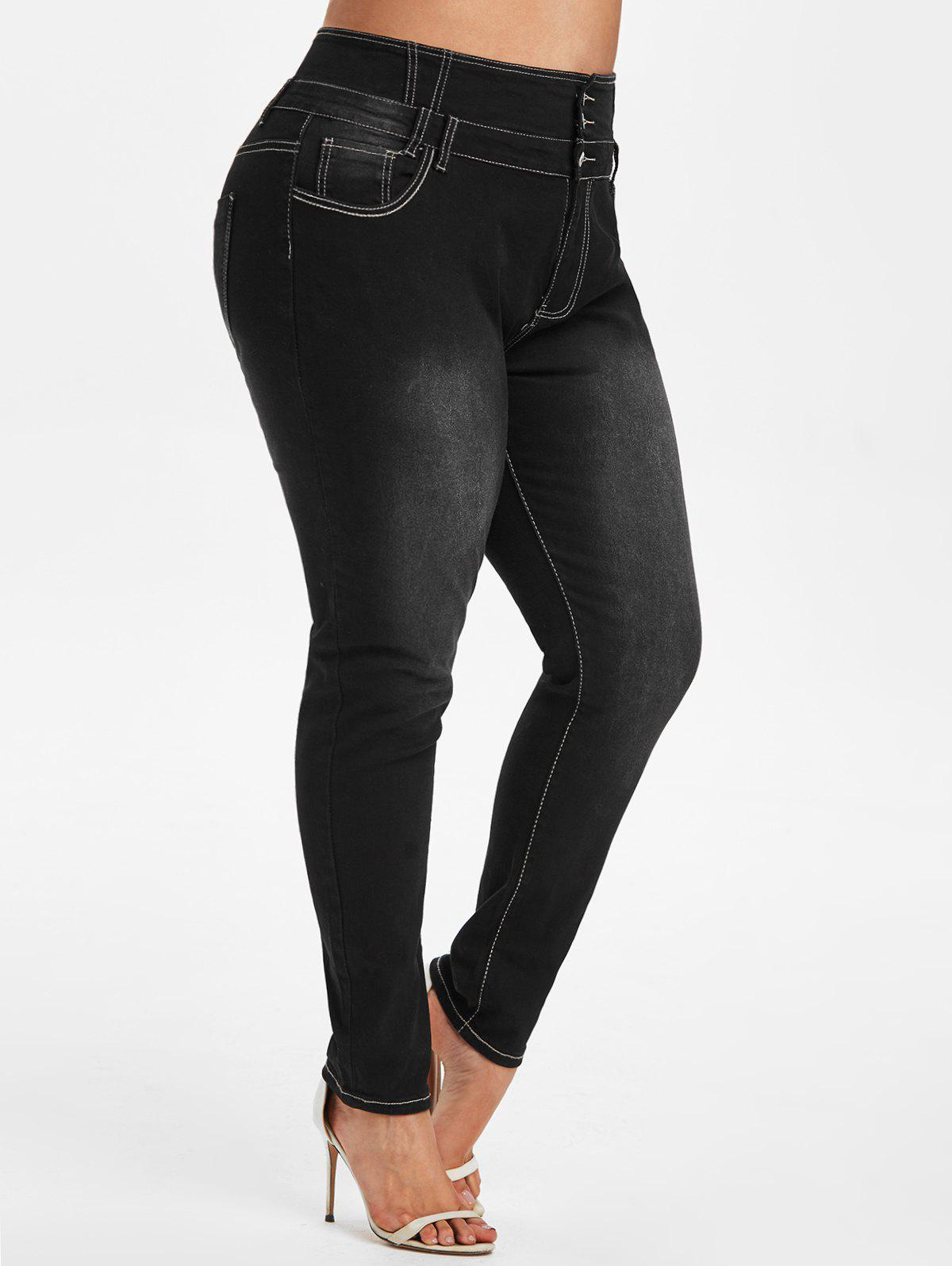 High Waisted Pockets Plus Size Skinny Jeans - BLACK 3X