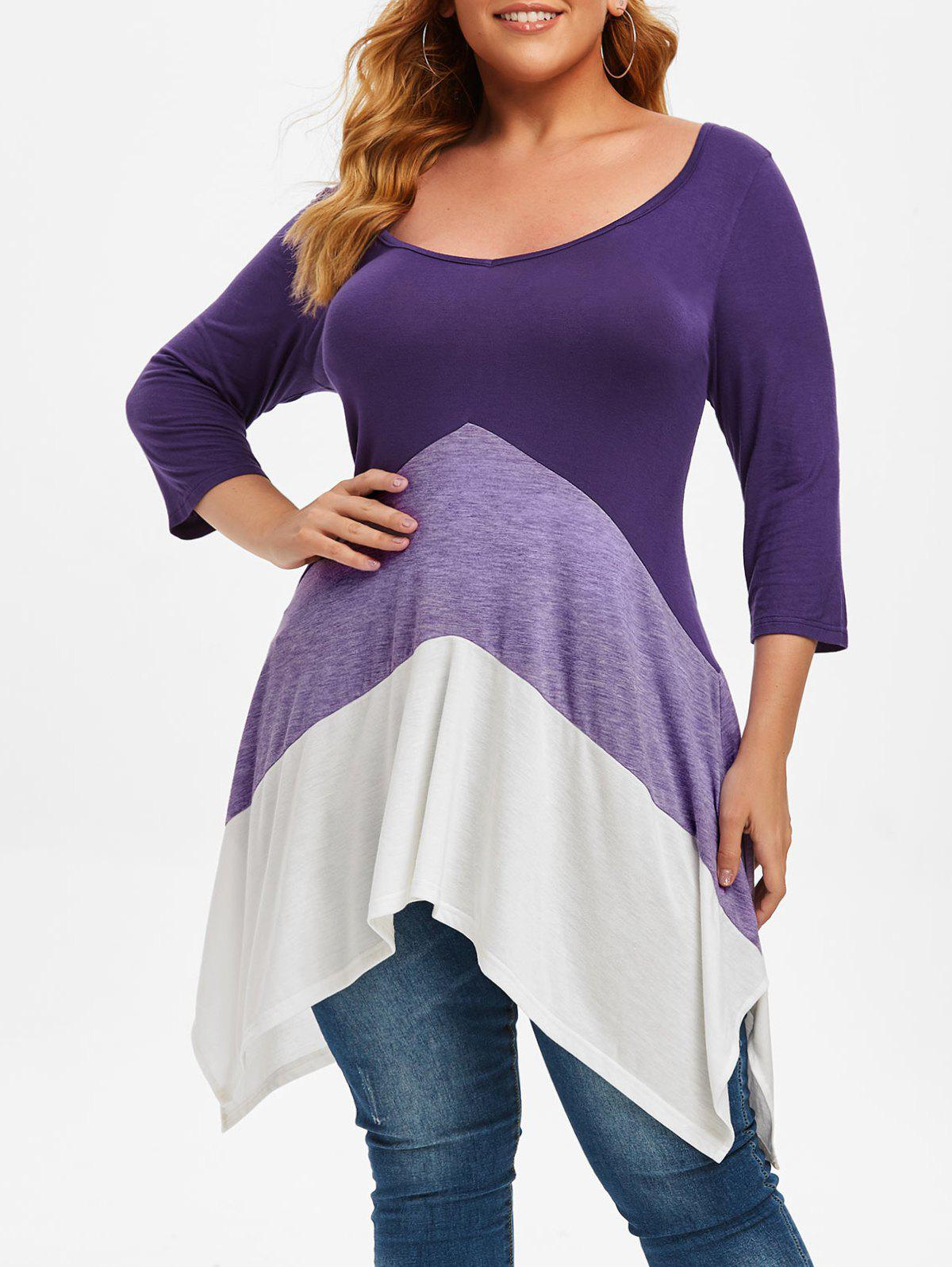Colorblock Double-v Handkerchief Plus Size Top - PURPLE 1X