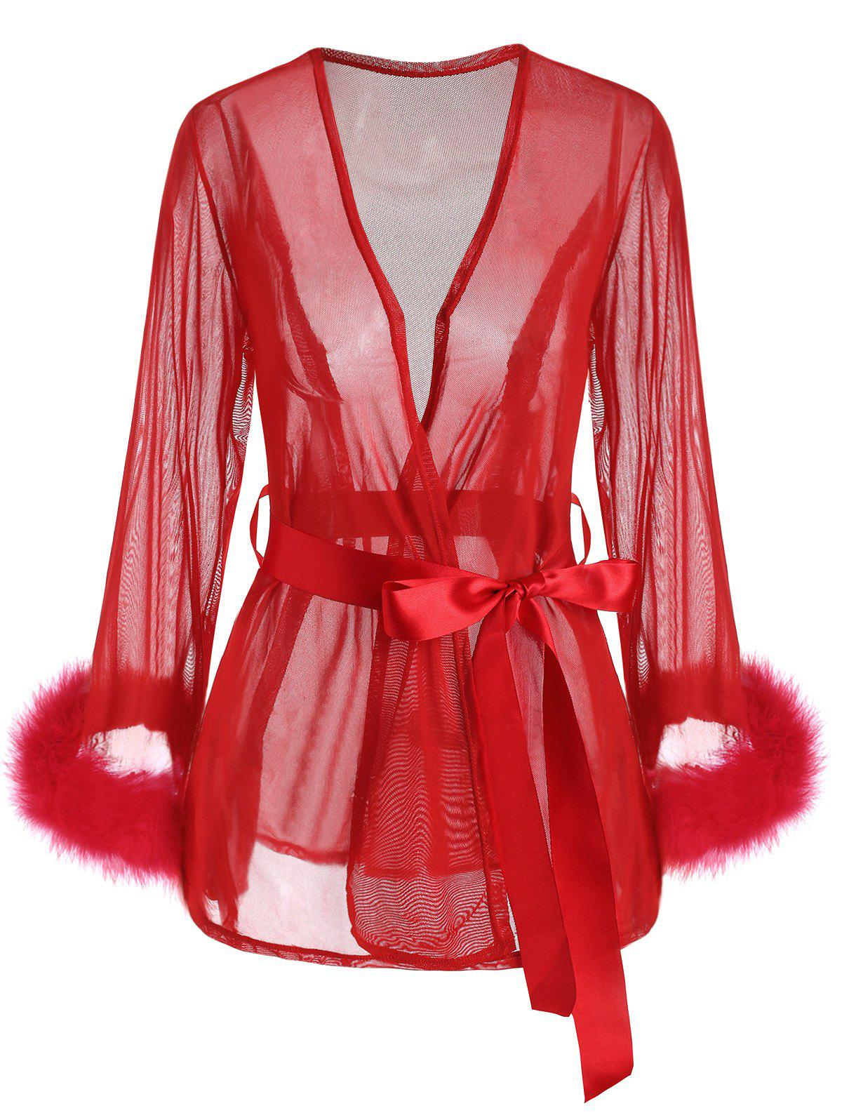 Plus Size See Thru Faux Fur Cuffs Belted Lingerie Robe - RED 3XL