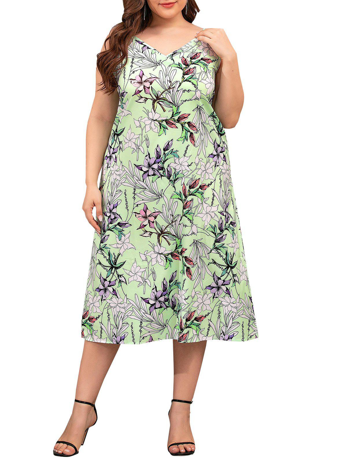 Floral Cami Plus Size Midi Dress - LIGHT GREEN 3XL