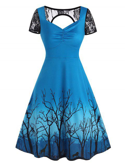 Lace Panel Cutout Branch Print Dress