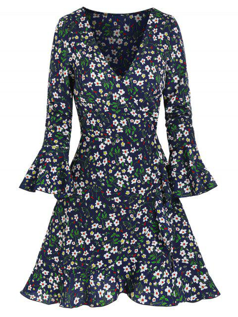 Floral Print Poet Sleeve Flounced Wrap Dress