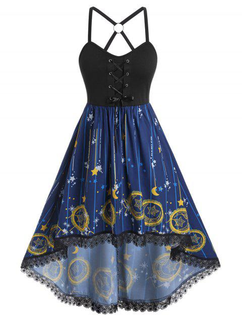 Plus Size Moon Stars Print High Low Dress