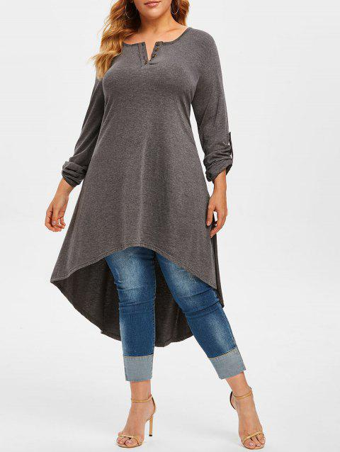 Plus Size Roll Up Sleeve High Low T Shirt