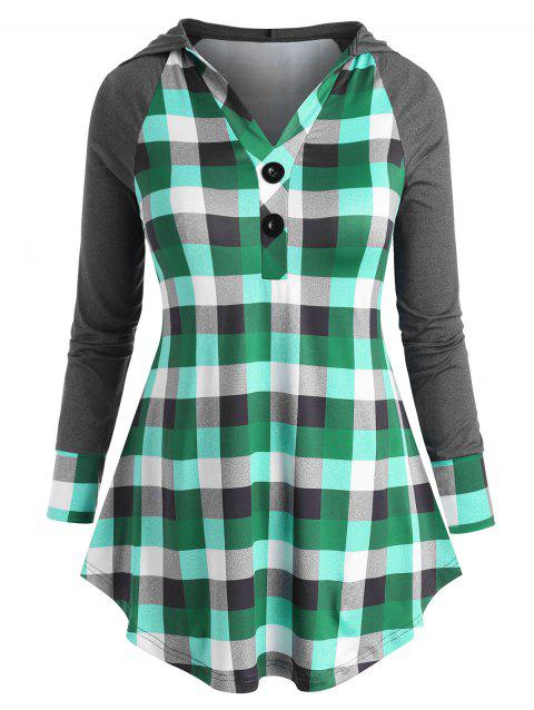 Plaid Raglan Sleeve Two Buttoned Plus Size Hoodie