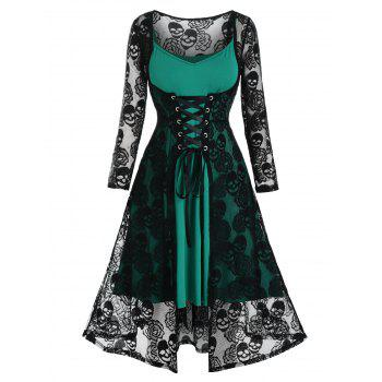 Plus Size Lace Skull Lace-up Dress and Cami Dress Set