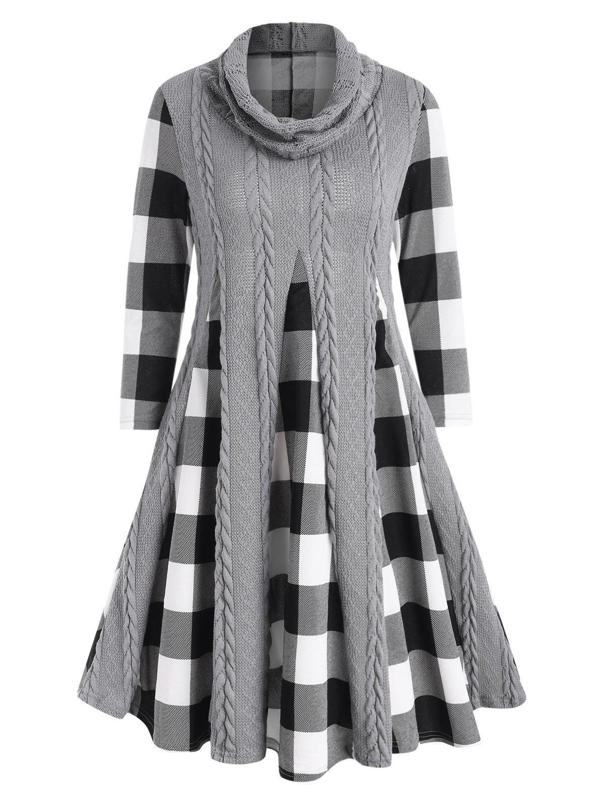 Cowl Neck Cable Knit Panel Plaid Dress - GRAY 3XL