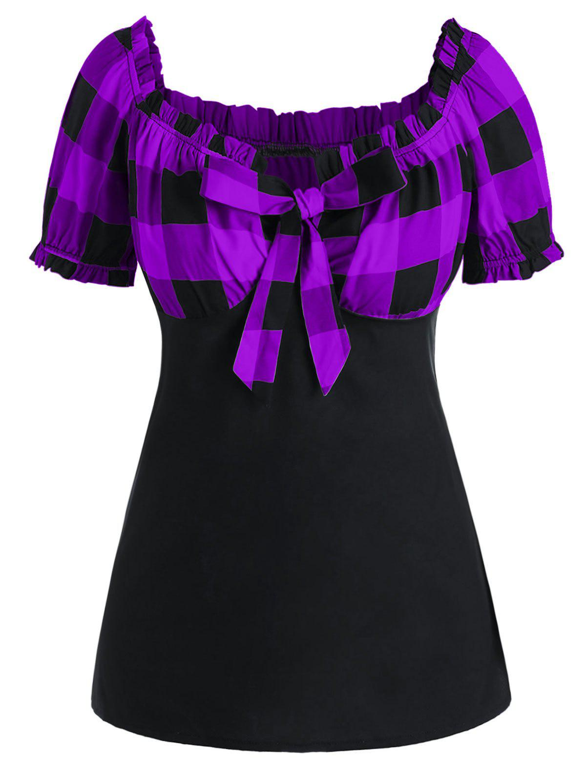 Plus Size Bow Tie Ruffle Checked T Shirt - PURPLE 1X