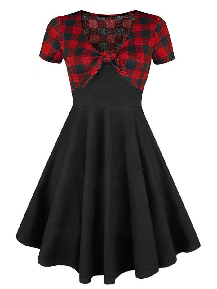 Plus Size Front Knot Plaid Dress - RED 4X