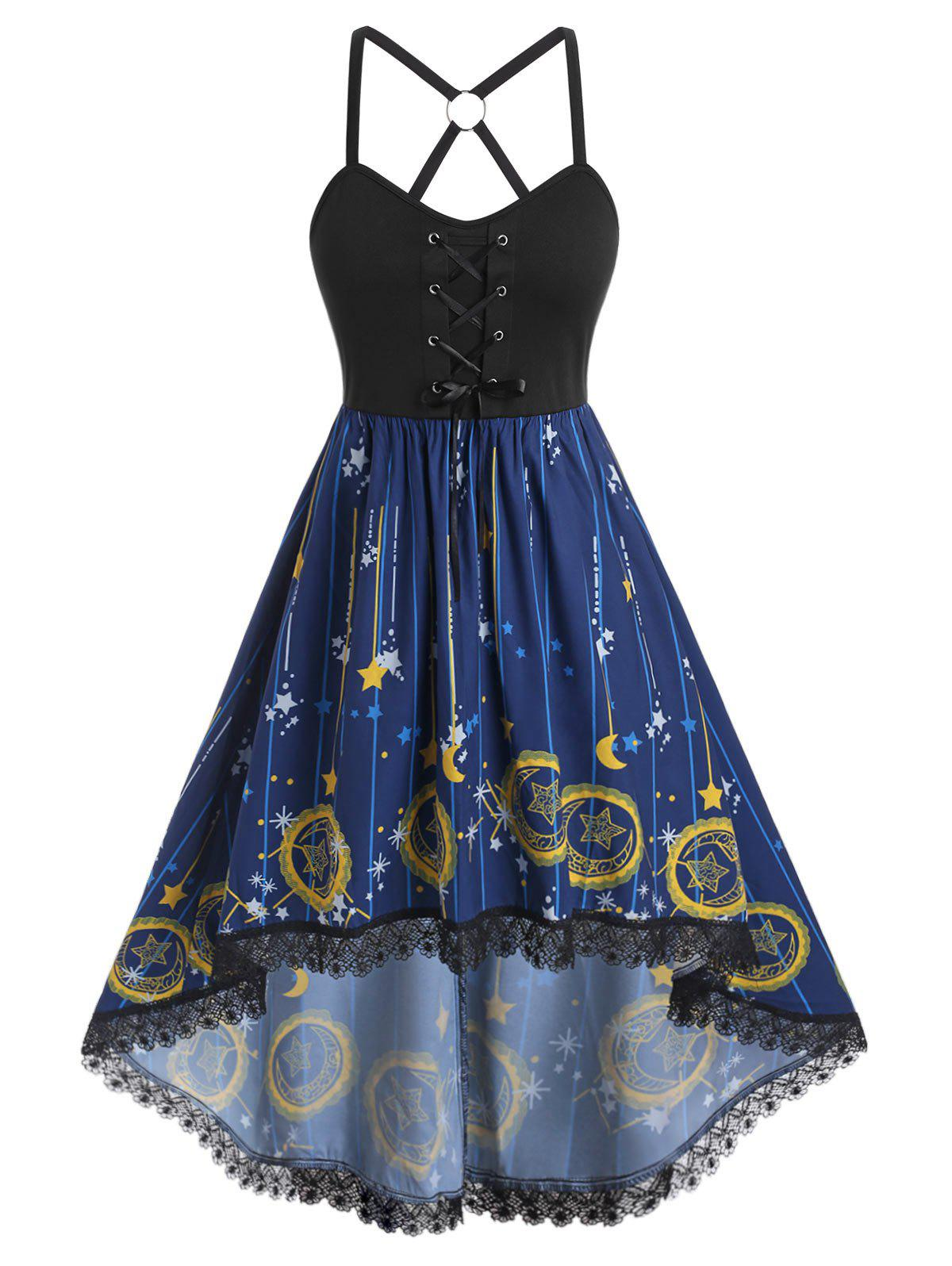 Plus Size Moon Stars Print High Low Dress - BLUE L