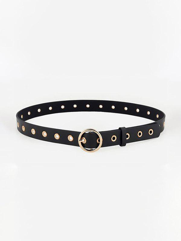 Retro Hollow Round Buckle Belt - BLACK