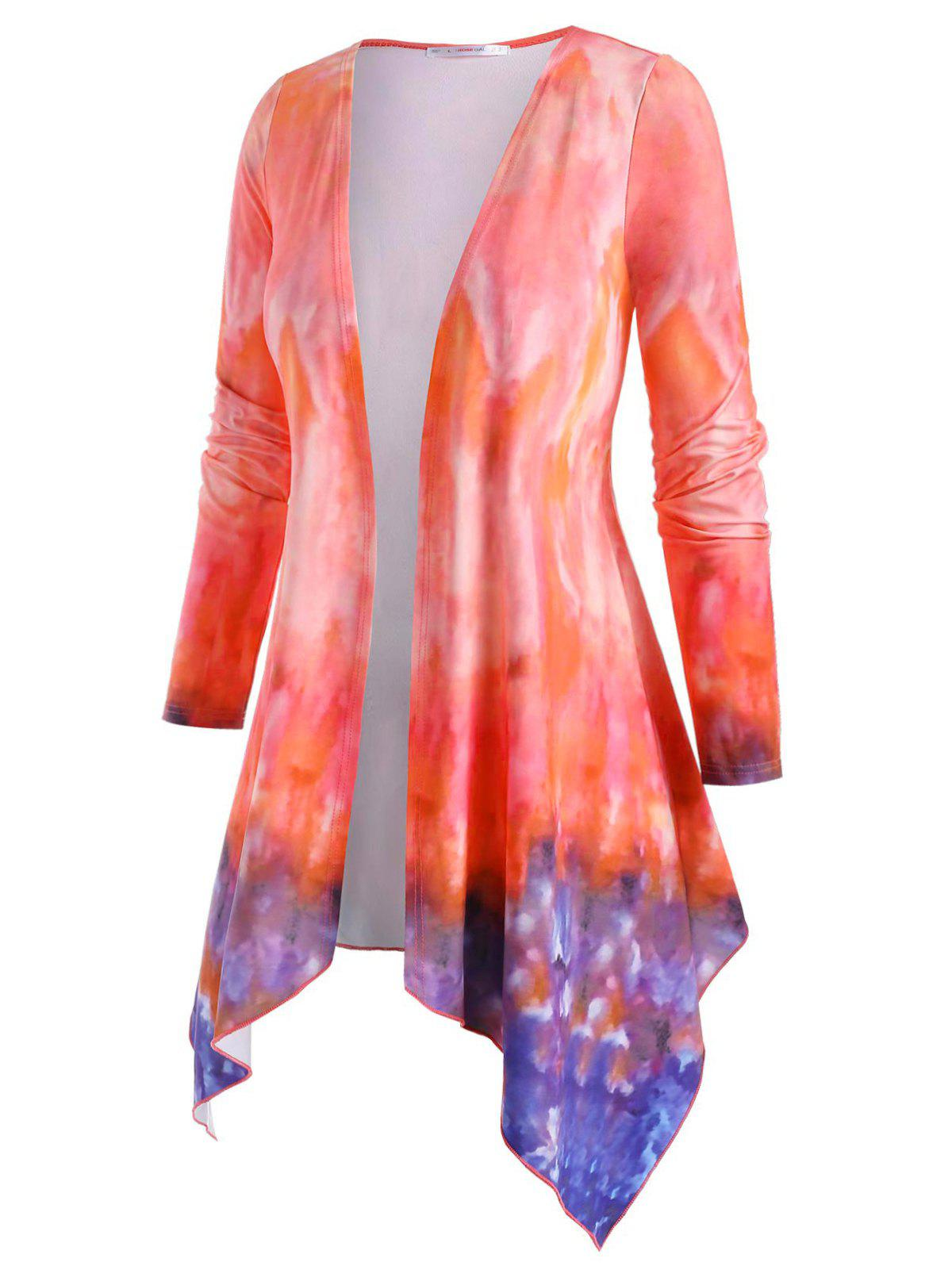 Tie Dye Open Front Layering Plus Size Top - ORANGE 4X