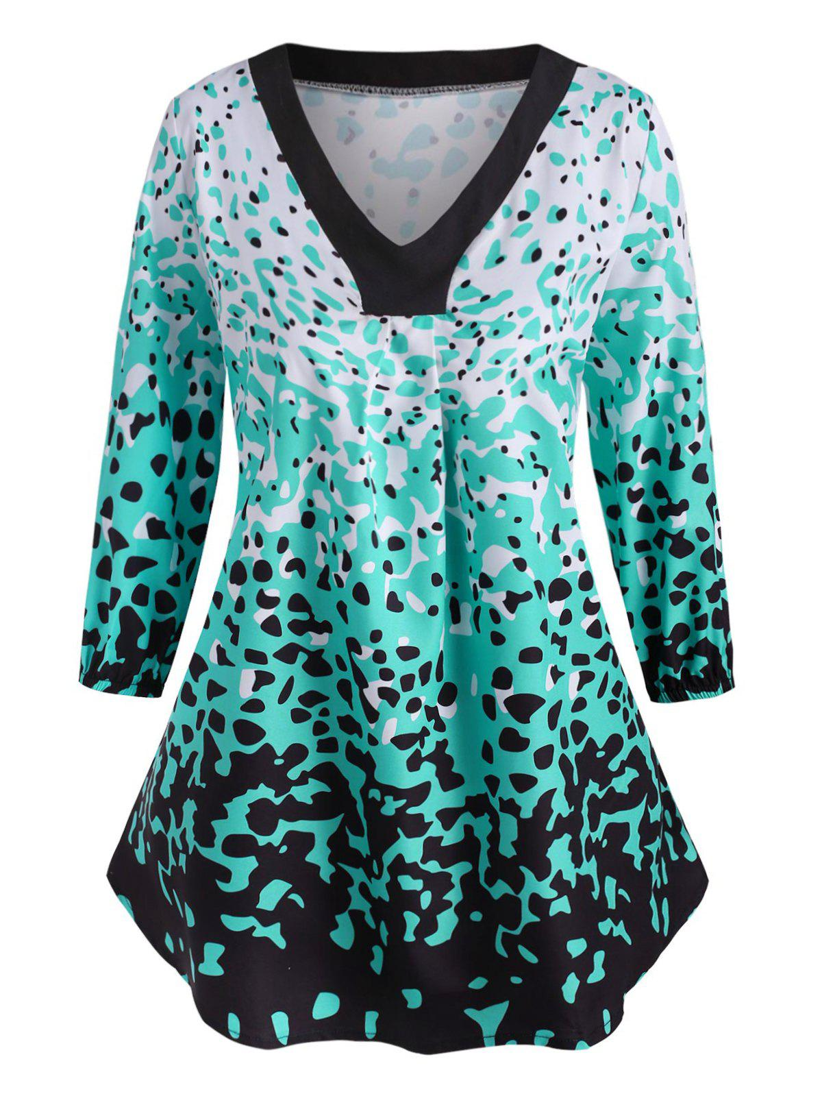 Leopard Ruched V Neck Plus Size Blouse - GREEN 4X