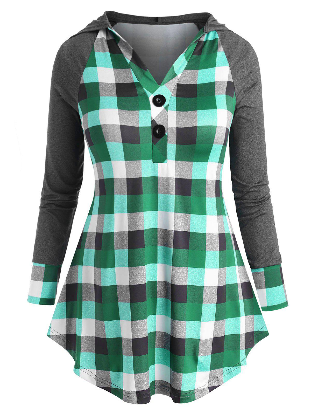 Plaid Raglan Sleeve Two Buttoned Plus Size Hoodie - GREEN 1X