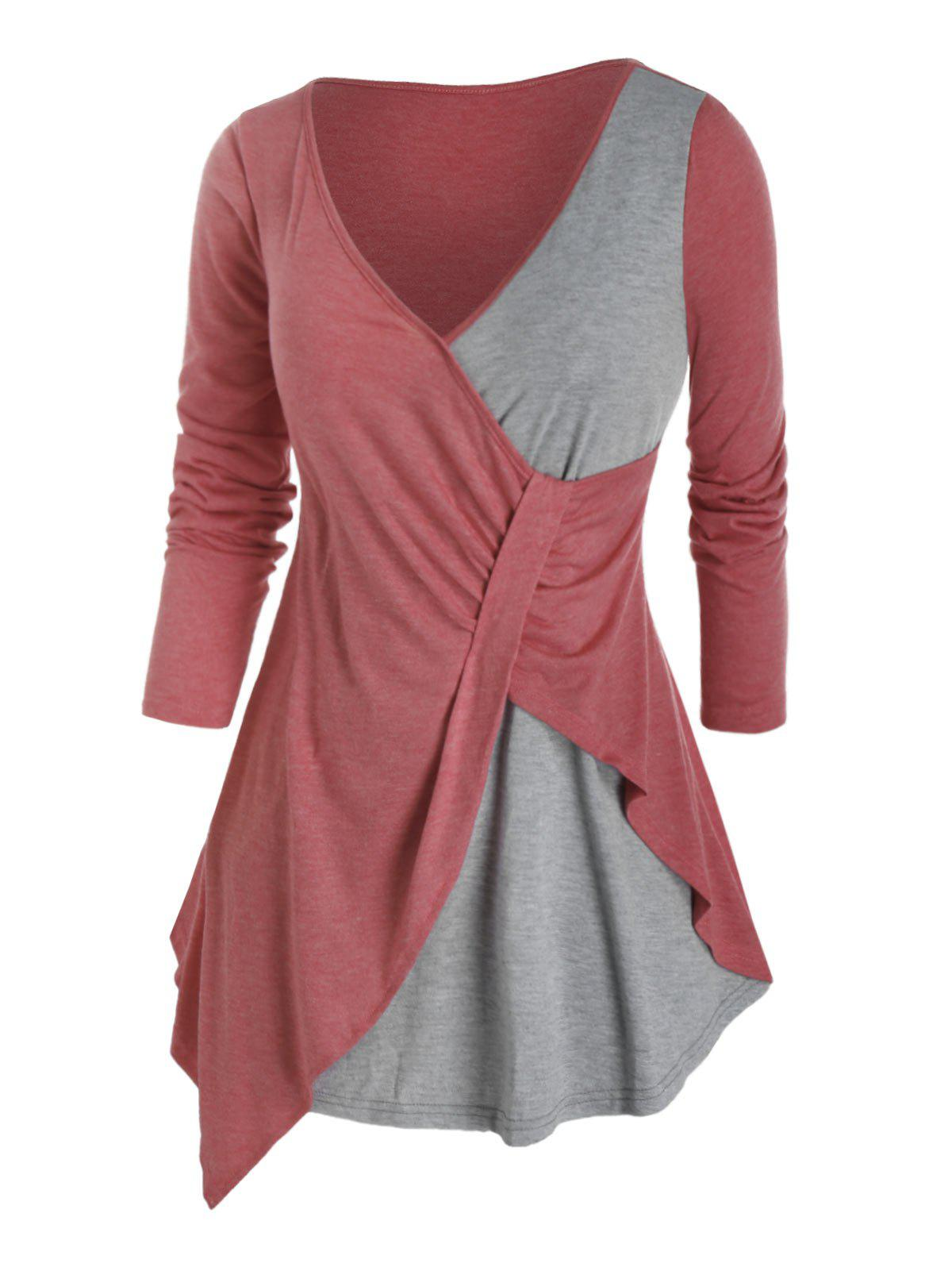 Plus Size Bicolor Asymmetrical Plunge Long Sleeve Tee - VALENTINE RED 5X