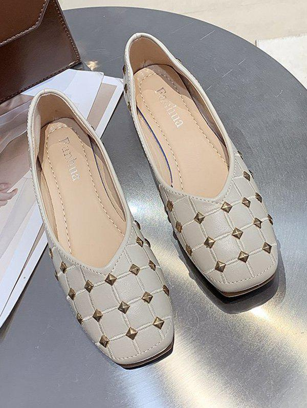 Square Toe Rivet Check Pattern Flat Shoes - BEIGE EU 38