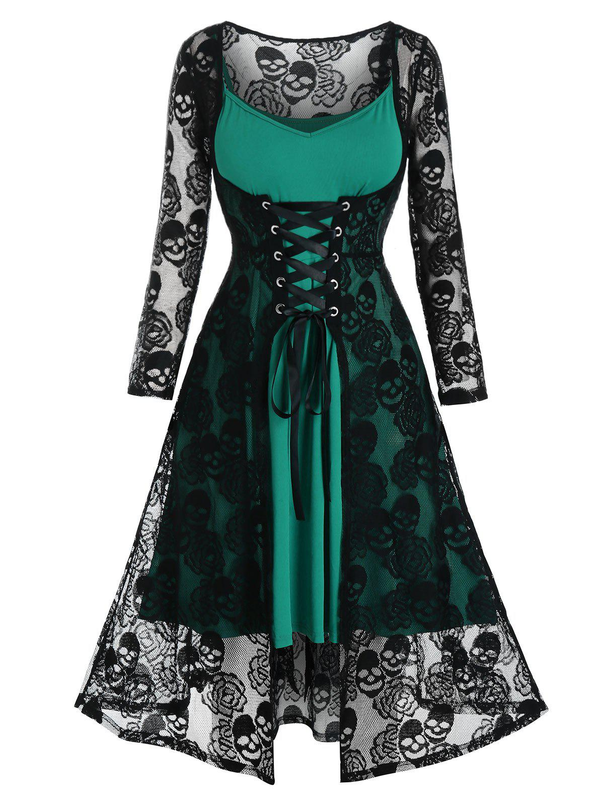 Plus Size Lace Skull Lace-up Dress and Cami Dress Set - SEAWEED GREEN 2X