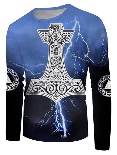 Crew Neck Lightning Wolf Pattern Long Sleeve Casual Tee