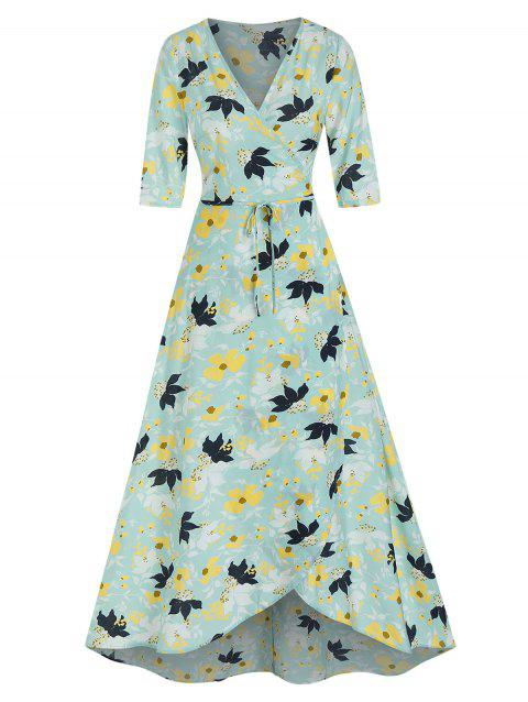 Flower Print Wrap Maxi Dress