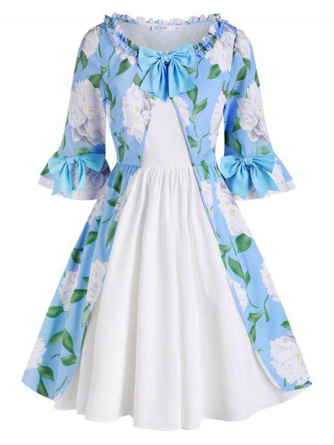 Floral Bowknot Frilled Trim Plus Size Dress