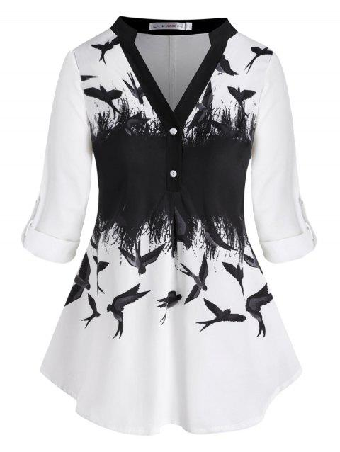 Tab Sleeve Swallow Printed Button Front Plus Size Top