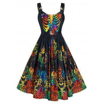 Plus Size Colorful Skeleton Skull A Line Halloween Dress