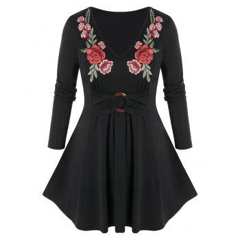 Plus Size Flower Embroidered Long Sleeve Tunic Tee