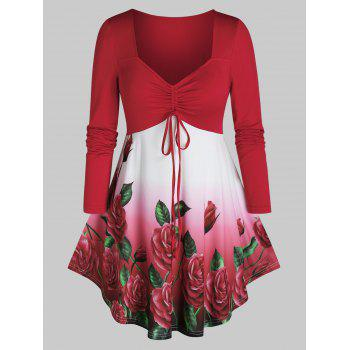 Plus Size Ombre Flower Long Sleeve Cinched Tie Tee