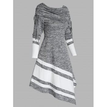 Striped Cinched Cowl Neck Asymmetrical Long Sleeve Dress