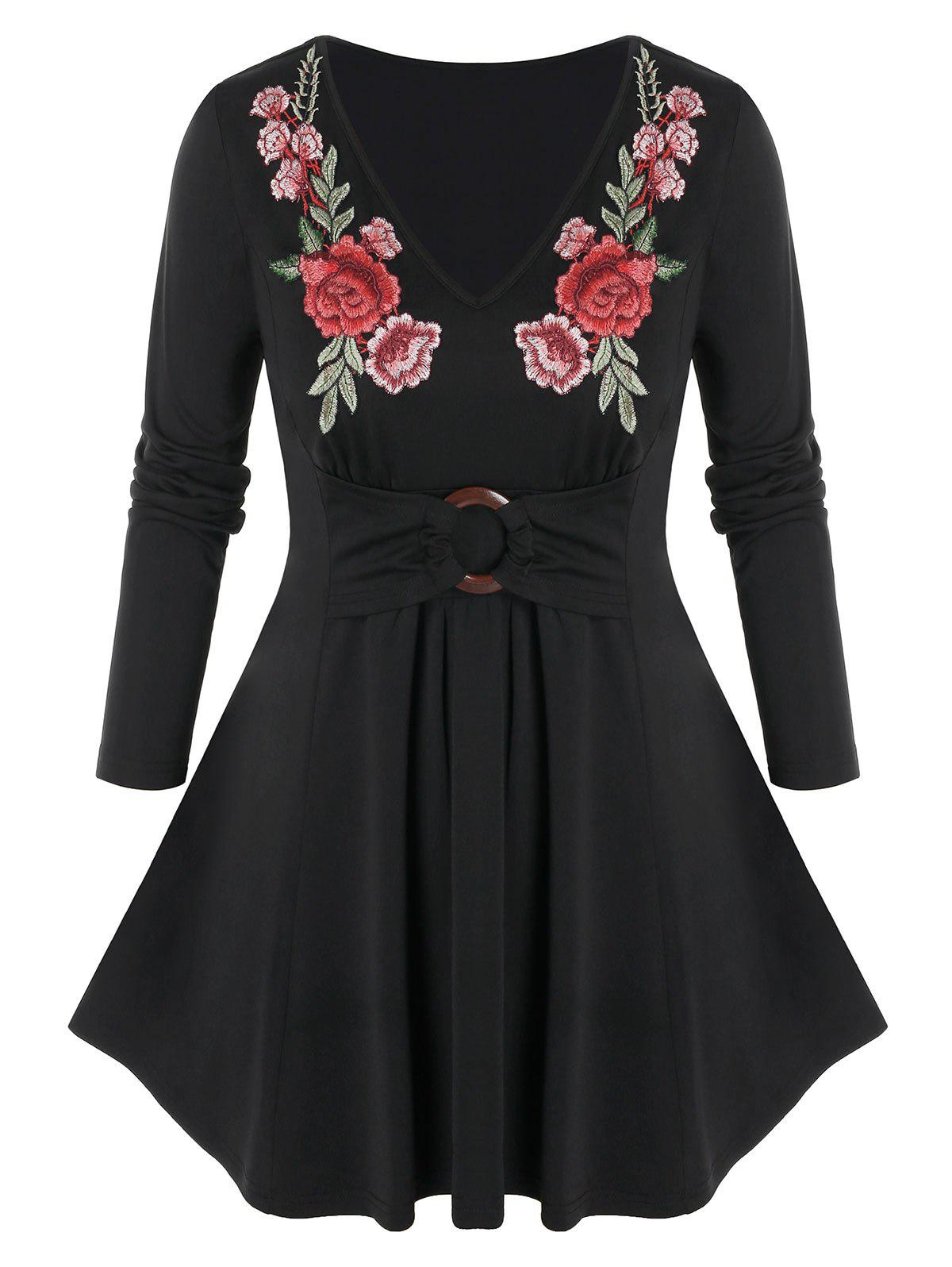 Plus Size Flower Embroidered Long Sleeve Tunic Tee - BLACK L