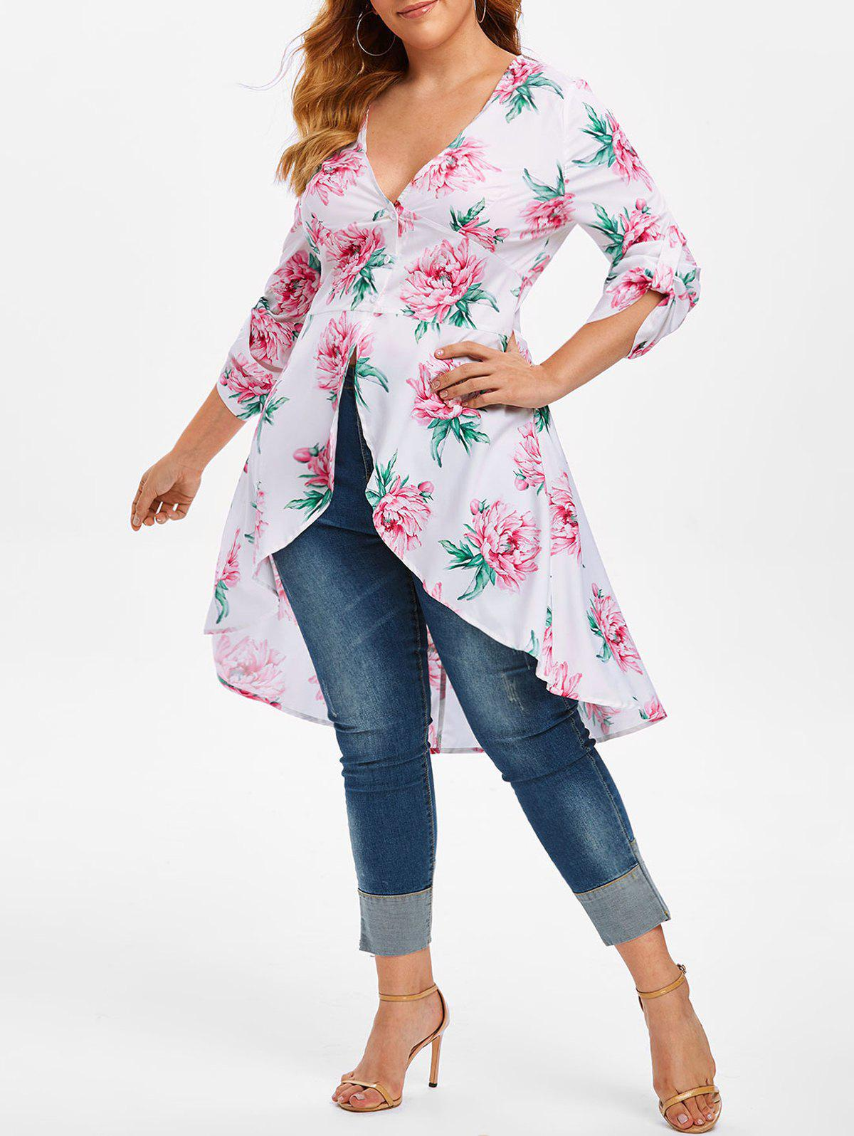 Plus Size Plunge Floral Print High Low Blouse - WHITE 3X