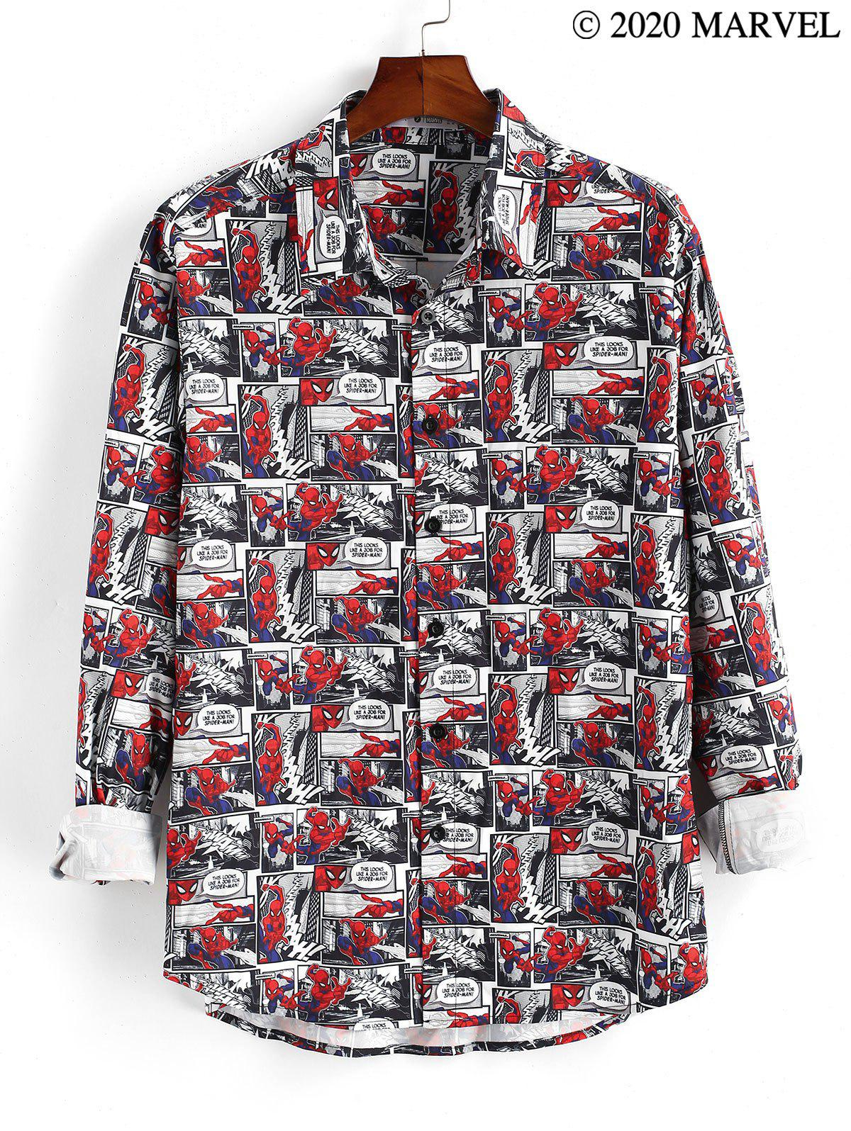 Marvel Spider-Man Button Up Comics Print Shirt - RUBY RED M