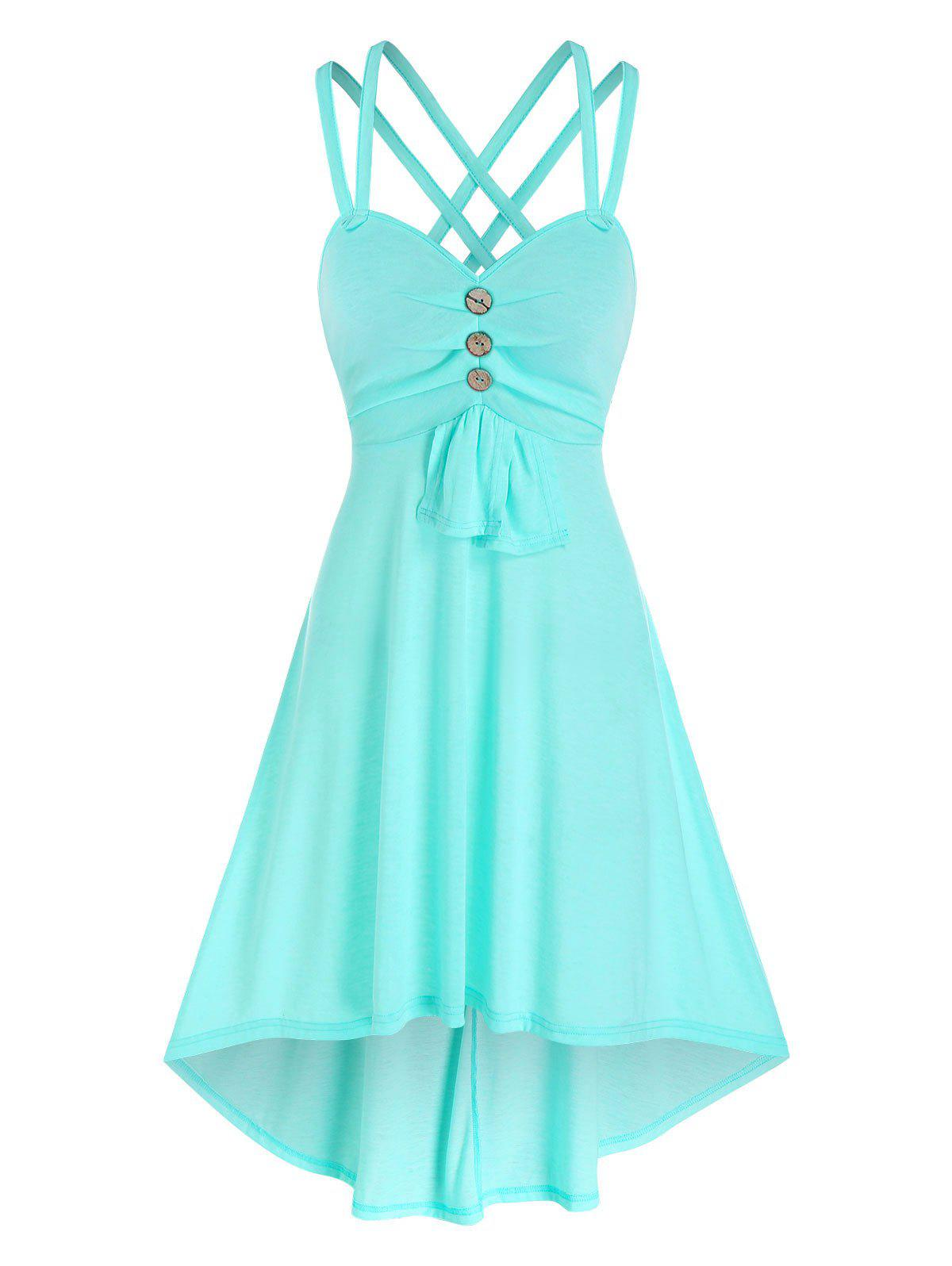 Mock Button High Low Strappy Dress - LIGHT BLUE 3XL