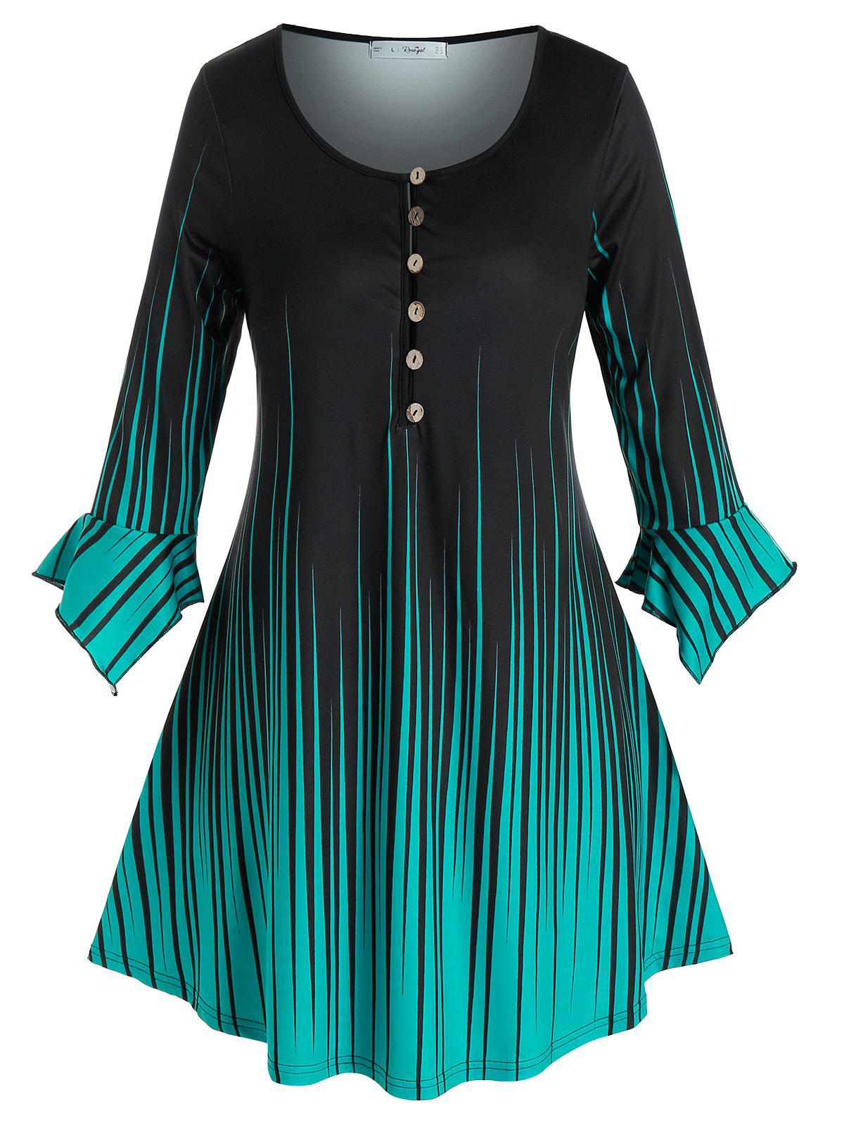 Plus Size Striped Buttoned Ruffle Cuff Tee - BLACK 2X