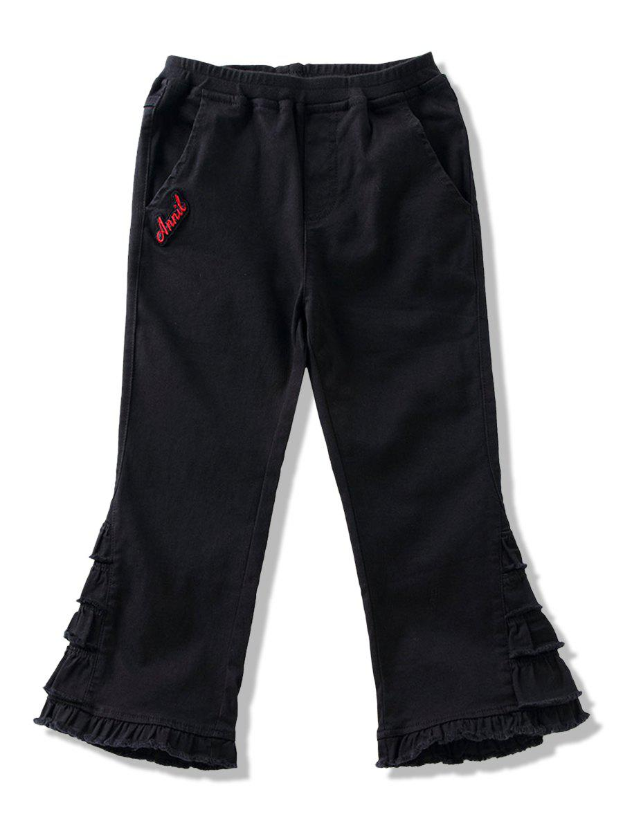 Girl Letter Embroidery Ruffles Design Bootcut Pants - BLACK 160