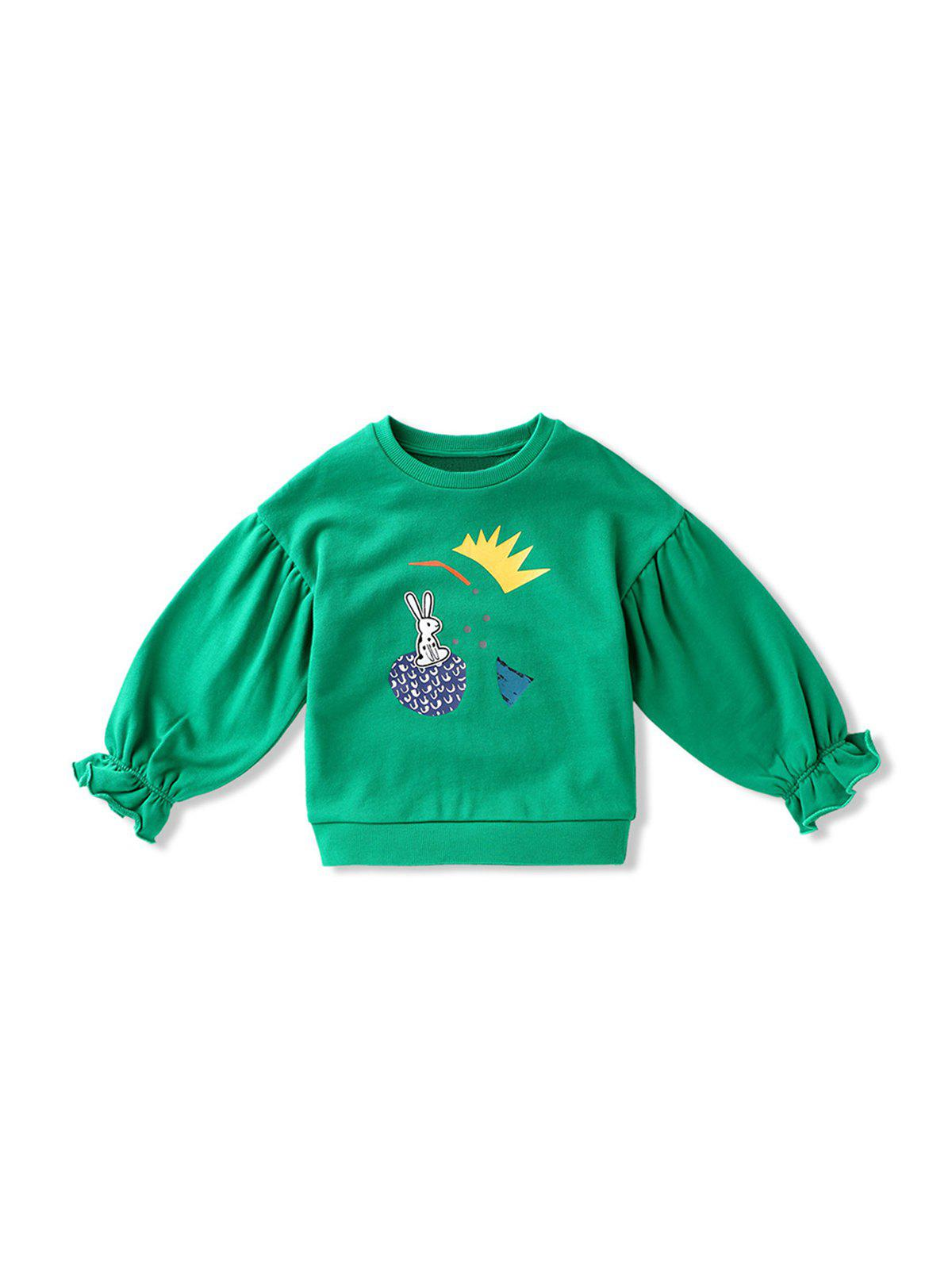 Girl Cartoon Print Poet Sleeve Pullover Sweatshirt - GREEN 160