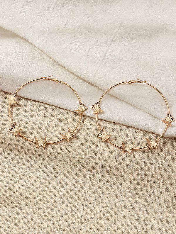 Metal Butterfly Shape Hoop Earrings - GOLDEN