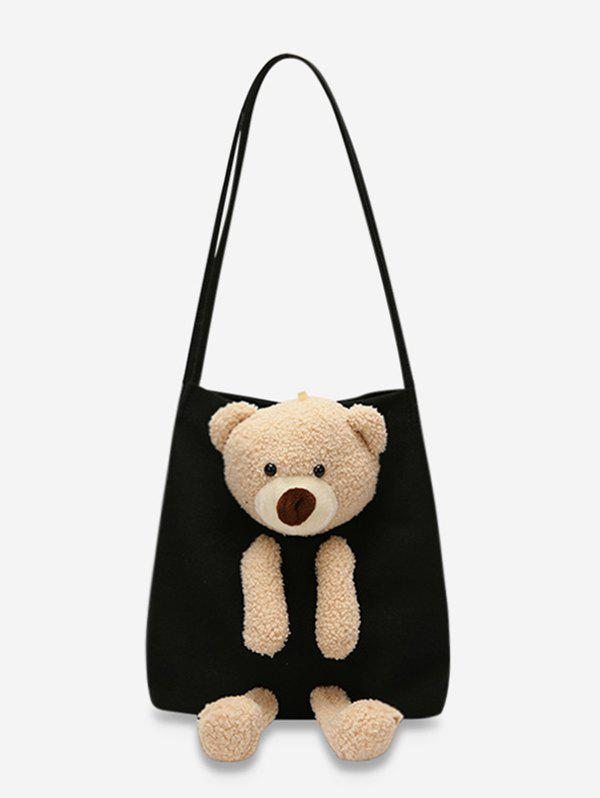 Cute Bear Canvas Shoulder Bag - BLACK