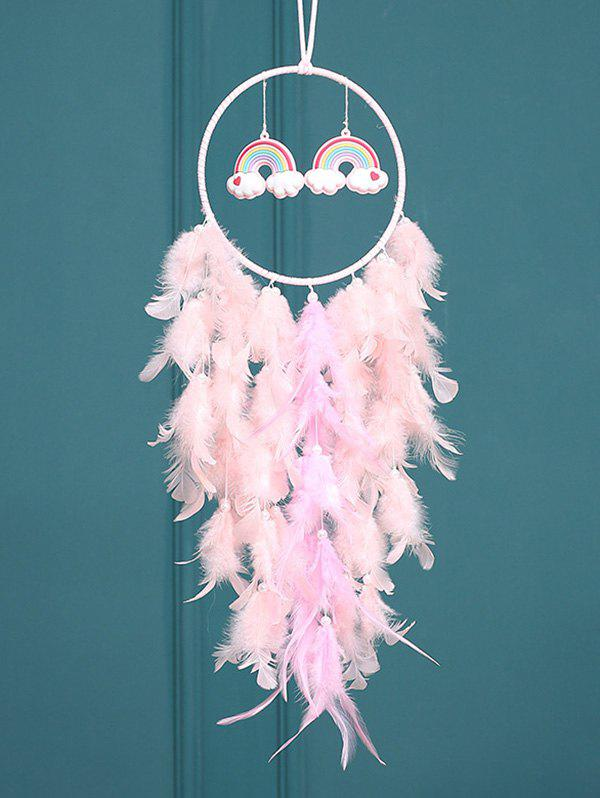 Rainbow Feather Fringe Handmade Dreamcatcher - multicolor A WITHOUT LIGHT