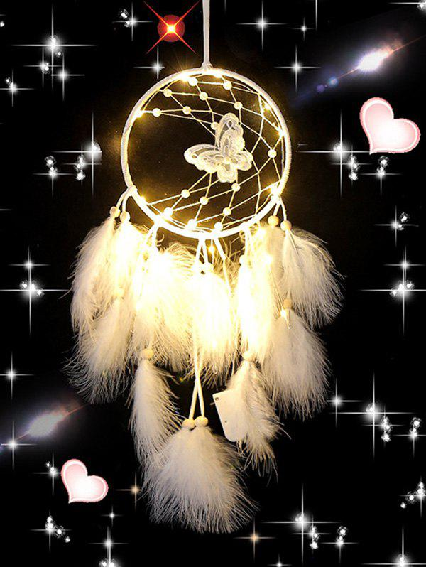 Butterfly Beads Feather Room Decoration Dreamcatcher - WHITE WITH LIGHTS