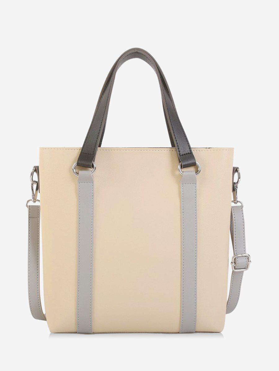 Contrast Color Leather Large Capacity Tote Bag - WARM WHITE