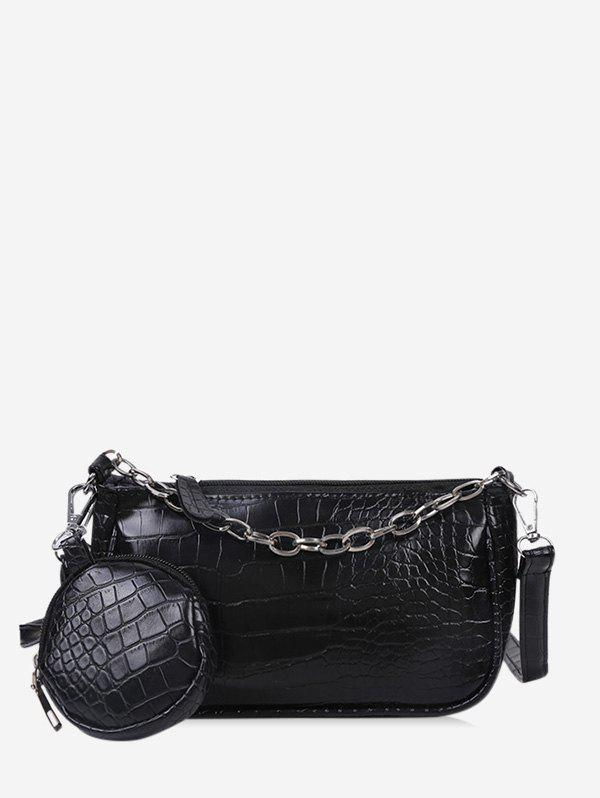Animal Embossed Leather Crossbody Bag and Coin Purse Set - BLACK