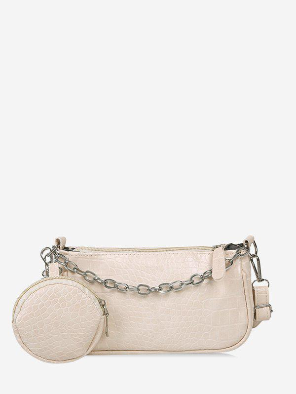 Animal Embossed Leather Crossbody Bag and Coin Purse Set - WHITE