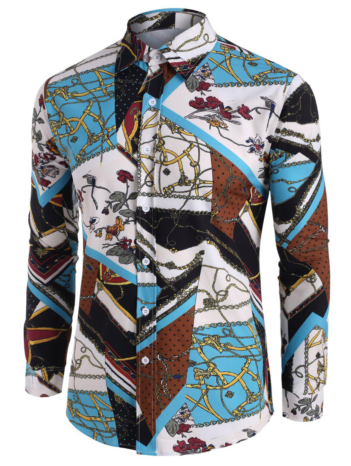 Floral Chain Pattern Block Button Up Casual Shirt - multicolor A 2XL