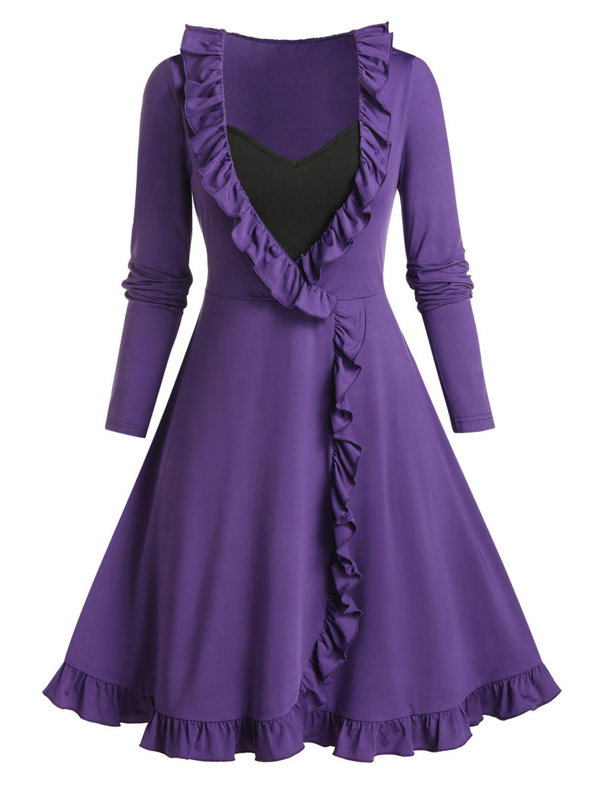 Plus Size Ruffles 2 In 1 A Line Dress - HELIOTROPE PURPLE 5X