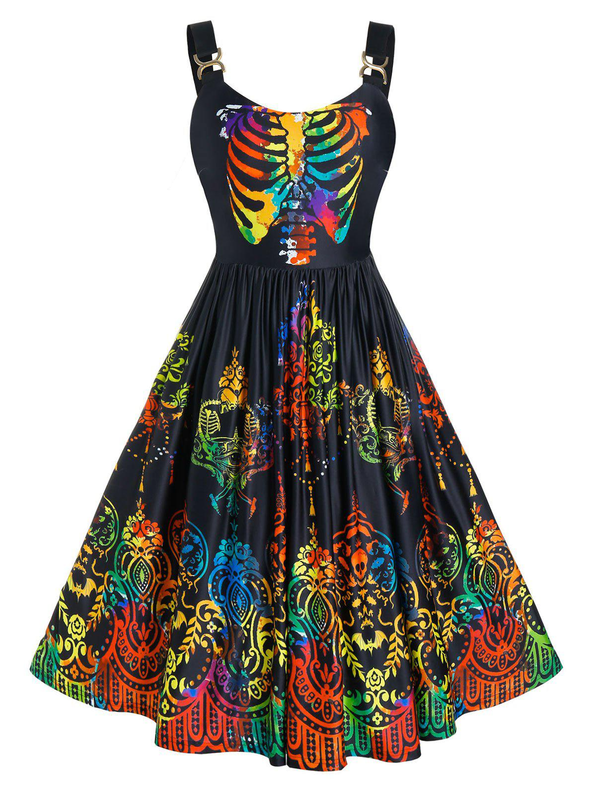 Plus Size Colorful Skeleton Skull A Line Halloween Dress - BLACK 1X