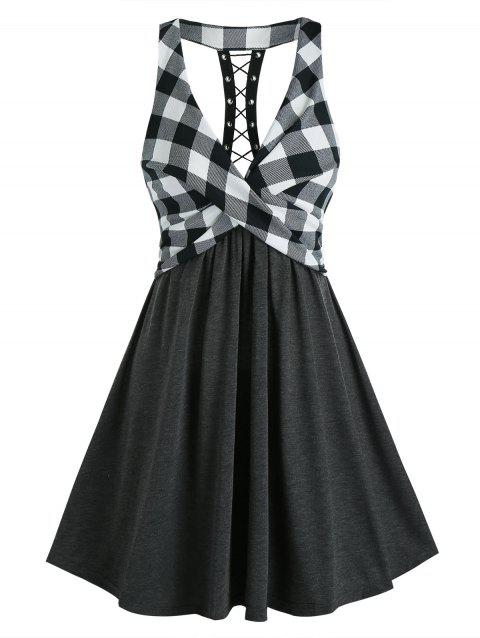Plaid Print Lace Up Back High Waist Dress