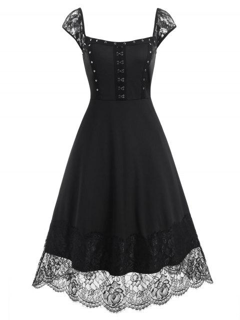 Lace Panel Rivets Hook and Eye Dress