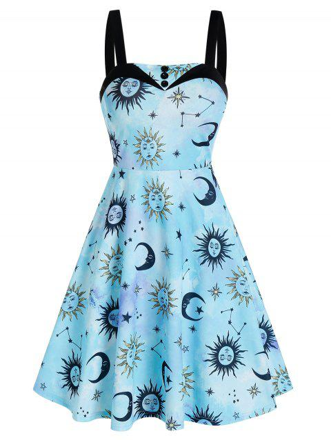 Sun And Moon Pattern A Line Dress